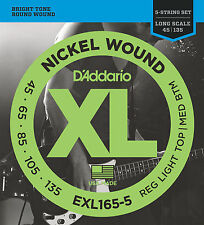 D'ADDARIO EXL165-5 NICKEL BASS STRINGS, MEDIUM/LIGHT GAUGE 5's   45-135