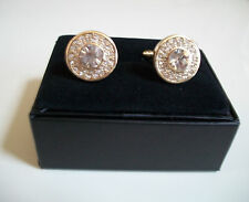 Mens Gold Finish Simulated Lab Diamond Round Cuff Links 19 mm