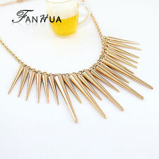 Gold spike steampunk, punk, goth, fashion gold statement necklace