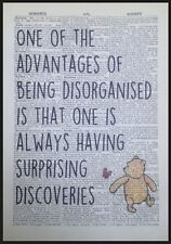 Winnie The Pooh Quote Vintage Dictionary Page Print Picture Art Disorganised