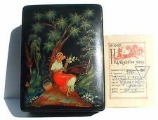 Vintage Signed Hand Painted Russian Lacquered Box