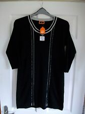 BNWT £18 black with grey trims stretchy knitted long-line top/dress SIZE 12/14