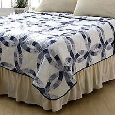 BLUE WEDDING RING PATTERN QUILT XMAS ANNIVERSARY GIFT KING SIZE 102X86 BRAND NEW
