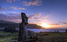 Framed Print - Easter Island Monumental Statues (Picture Poster Scenic Art)