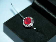 LOT 246 STUNNING RUBY + DIAMOND STERLING SILVER RING SIZE N 1/2 - RRP £181