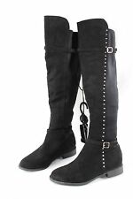 Ladies Black Faux Suede Size 4 UK Knee High Boots Shoes Flat Womens Elasticated