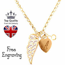 Heart Guardian Angel Personalised Jewellery Necklace Gold Plated UK GREAT GIFT