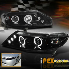 06-11 Civic Sedan 4DR *GLOSSY PEARL BLACK*  Halo LED Projector head light Lamps