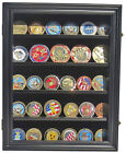 LOCKABLE Challenge Coin Display Case Wall Shadow Box Cabinet, Coin30
