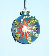 VINTAGE CHRISTMAS GLASS TREE ORNAMENT HAND PAINTED PUFFY PAINT