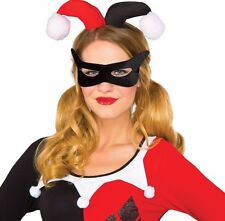 Harley Quinn Eye Mask & Headpiece Costume Accessory Womens Jester Quin - Fast -