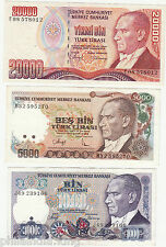 3 DIFFERENT CURRENCY OF TURKEY (COND - VF/XF) - Lowest Price - Circulated