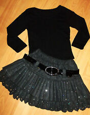 GIRLS BLACK TOP & GREY SPARKLE PRINT WOOLLY WINTER OCCASION PARTY SKIRT age 8-9