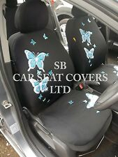 TO FIT A FORD ESCORT CAR, SEAT COVERS, ROSSINI BLUE BUTTERFLY FULL SET + MATS