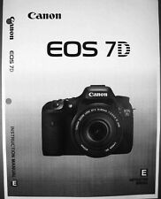 Canon EOS 7D Digital Camera User Instruction Guide  Manual