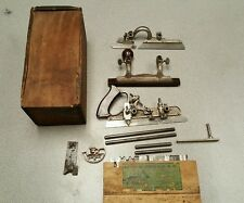 Vintage Stanley no 45 combination plane orig box and cutters 1895