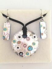 SILVER FLOWER AUTHENTIC VENETIAN MURANO GLASS NECKLACE EARRINGS JEWELRY SET 12MG