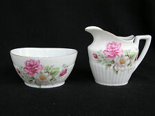 St George Roses Cream & Sugar Bowl Dish Creamer Set Fine Bone China England
