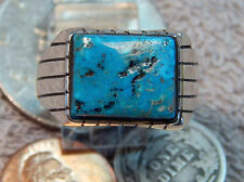 Men's Sterling Silver Turquoise Ring Navajo Ray Jack New Size 12 1/8