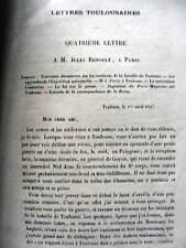 Lettres Toulousaines Félix Lacointa à Jules Renoult Bataille de Toulouse 4/1867