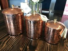 **Hak Art Hammered Copper Canister Set  Turkey 3 Piece Set with Tags Hakart**