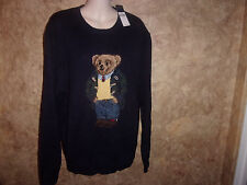 NWT Polo Ralph Lauren Preppy Navy Blue Polo BEAR Sweater Mens L