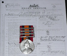 QSA 3 CLASPS TO 3rd HUSSARS + Papers & Rolls & Later WWI Service