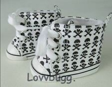 "Lovvbugg Skull HighTops Sneakers Shoes for 18"" American Girl or Boy Doll Clothes"