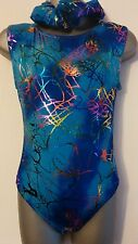Girls New 8-10 Blue Scribble sleeveless leotard disco/gymnastics/dance