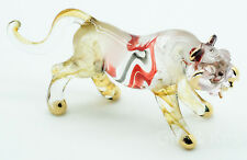 Figurine Hand Blown Glass Tiger No Painted w/ Painted Gold Trim - 001