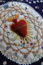 DIVINE VINTAGE FRENCH EX VOTO - BEAD & SEQUIN EMBROIDERY - CHRISTMAS DISPLAY