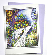 The Rainbow Hare birthday card hippy tribal gypsy Goddess candle witch forest