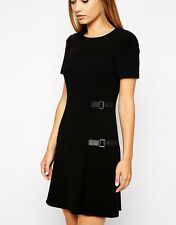 KAREN MILLEN (SOLD OUT) BLACK JERSEY BUCKLE KILTED DRESS SIZE 8.