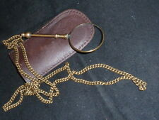 Stylish Antique Victorian Gilt Magnifying Glass and Chain with Leather Pouch