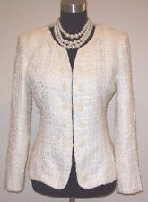 JOHN MEYER BOUCLE WOOL KNIT YELLOW & WHITE CASUAL DRESS SUIT JACKET~SZ S 4 6