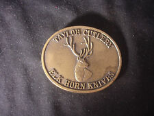 "Taylor Cutlery Elk Horn Knives Limited Edition Belt Buckle 3"" x 2 1/2"""