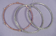 Set of 3 Gorgeous Silver & Rose Gold Thin Bangle Bracelets Crystals Bezels NEW