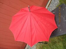 VINTAGE RED & BLACK SUN PARASOL RAIN UMBRELLA LOVELY WOOD HANDLE w ACCENT 34""