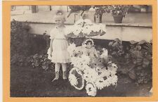 Real Photo Postcard RPPC- Girl with Doll & Stroller Decorated w/ Flowers & Bee