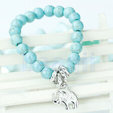 2014 New Turquoise Beads Elephant Charm Stretch Tibetan Silver Bracelet HG