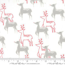 """JOL Reindeer on White #00-12 Christmas Moda Quilting Fabric 17"""" remnant #RZ"""