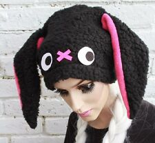BUNNY EAR HAT PINK BLACK GOTH INDIE KAWAII SOFT GRUNGE NUGOTH KEI DOLLY PASTEL