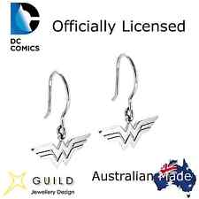 Wonder Woman Sterling Silver Hook Earrings Officially Licensed DC Comics