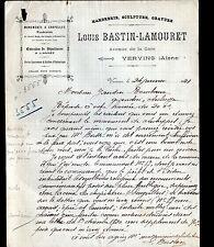 """VERVINS (02)  MARBRERIE SCULPTURE GRAVURE """"Loius BASTIN - LAMOURET"""" en 1921"""