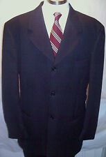 Bernini SHARP 4 BUTTON Black Pinstripe Super 100s Wool SUIT MENS See Measurement