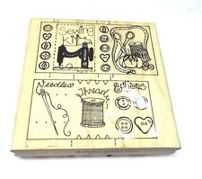 Limited Edition Sewing rubber stamp Notions  thread scissors buttons tomato