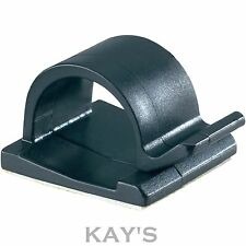 SELF ADHESIVE CABLE CLIPS, CHOICE OF BLACK OR WHITE, FREE P&P 16mm, 25mm, 28mm