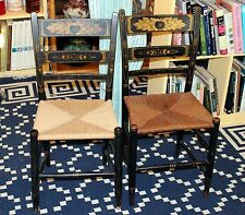 Pair Antique Hitchcock CT Black Gold Stencil Rush Side Country Farmhouse Chairs