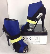 NEW QUPID High Heels Black Bright Blue White Animal Print Zip Ankle Bootie Shoes