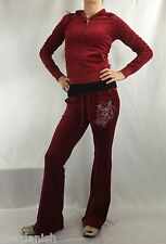 Juicy Couture Velour Set Hoodie Ruby Red Size S Pants Farmer Red Size XSmall